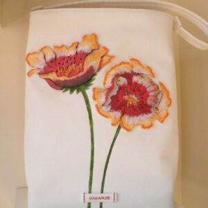 Bolso shopper con flores rojas