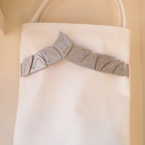 Bolso shopper blanco y plata