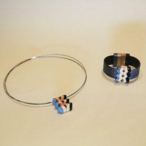 Conjunto de bisutería Amazonas Azul de gargantilla y pulsera