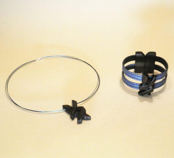 Conjunto de Bisutería Iguazú en azul de gargantilla y pulsera