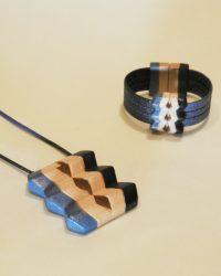 Conjunto de bisutería Amazonas Azul de colgante y pulsera